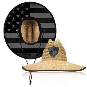 Straw hat with blackout flag under brim